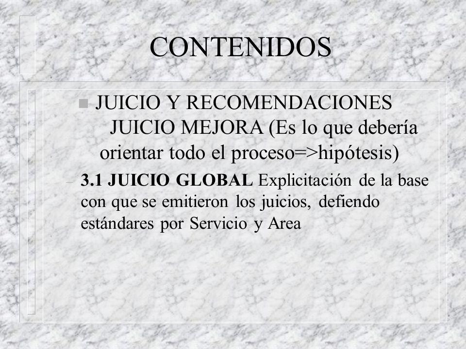CONTENIDOS JUICIO Y RECOMENDACIONES JUICIO MEJORA (Es lo que debería orientar todo el proceso=>hipótesis)
