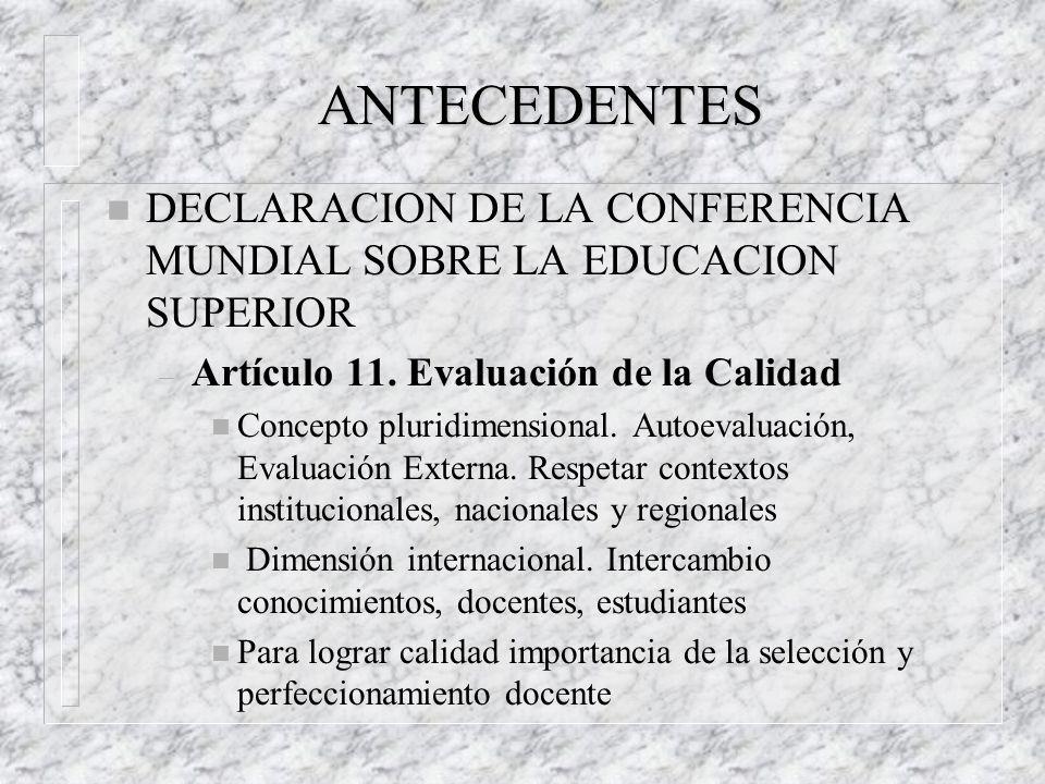 ANTECEDENTES DECLARACION DE LA CONFERENCIA MUNDIAL SOBRE LA EDUCACION SUPERIOR. Artículo 11. Evaluación de la Calidad.
