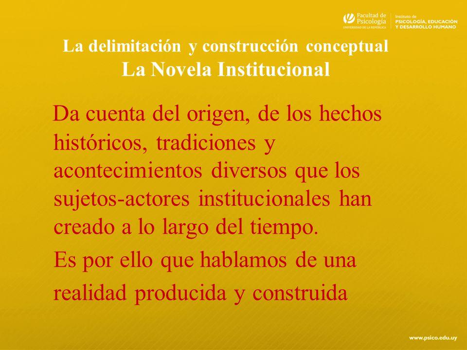 La delimitación y construcción conceptual La Novela Institucional