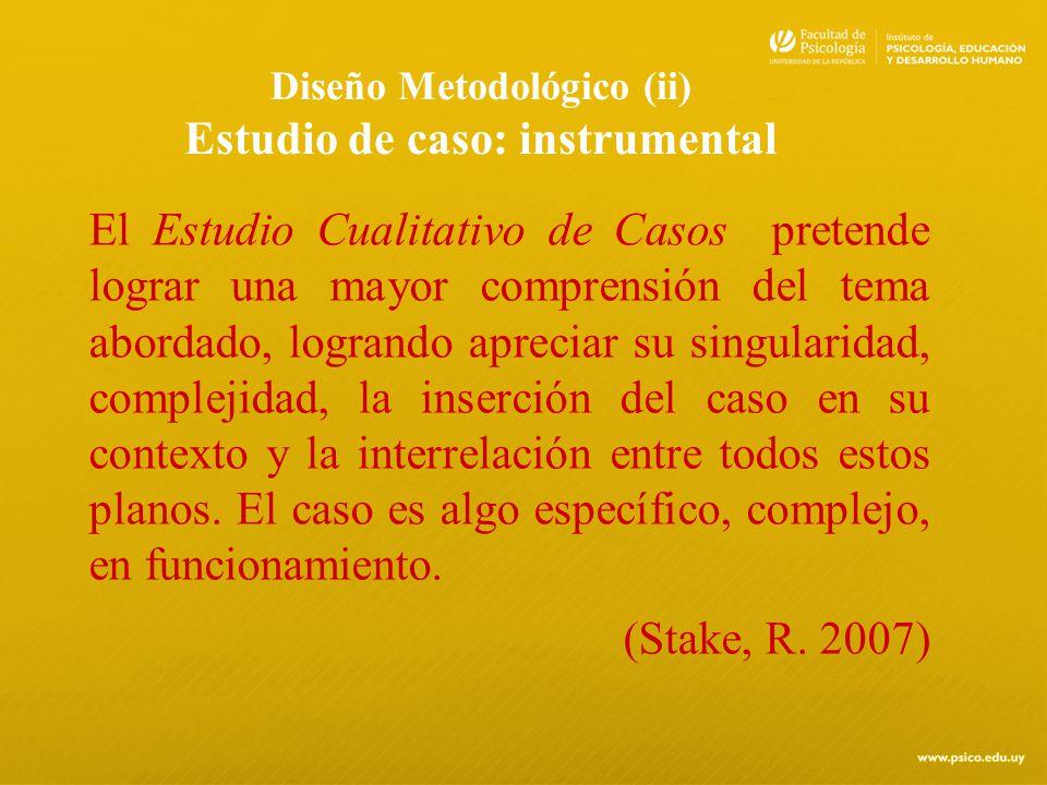 Diseño Metodológico (ii) Estudio de caso: instrumental