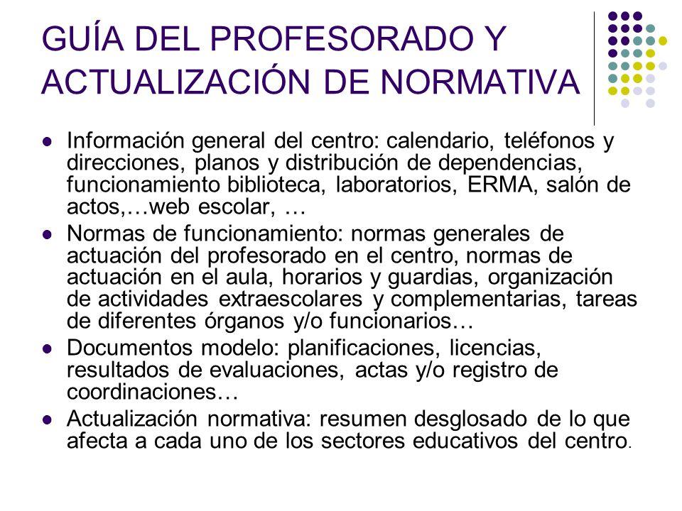 GUÍA DEL PROFESORADO Y ACTUALIZACIÓN DE NORMATIVA