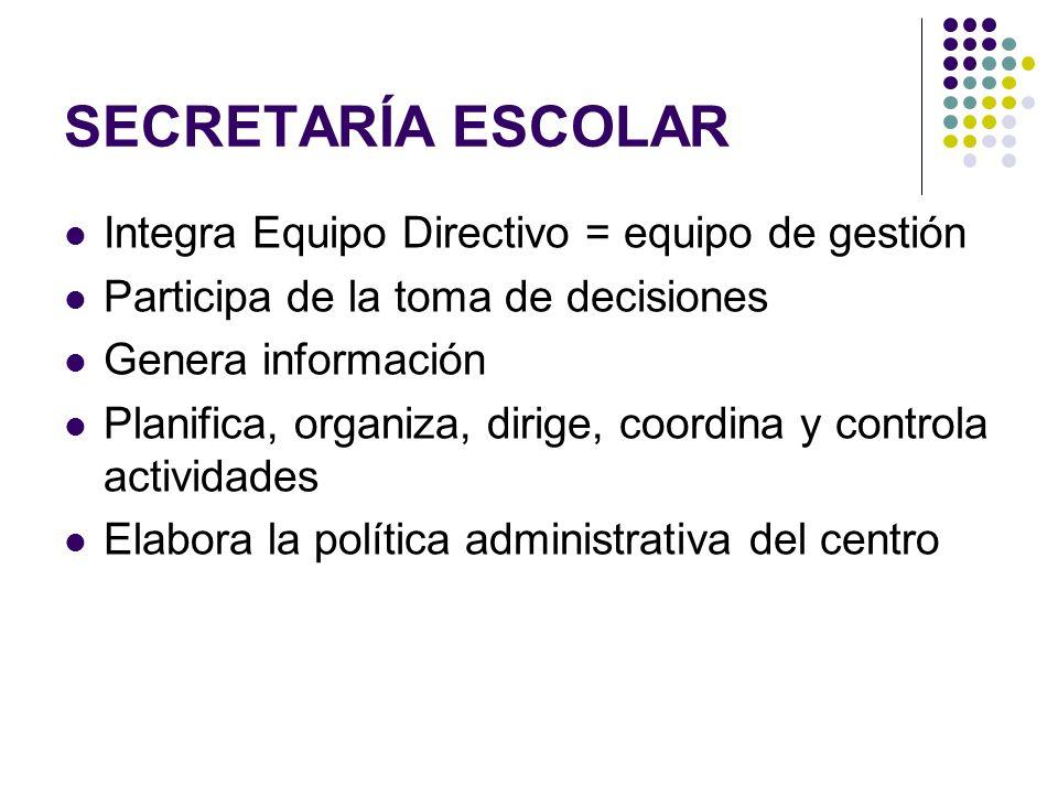 SECRETARÍA ESCOLAR Integra Equipo Directivo = equipo de gestión