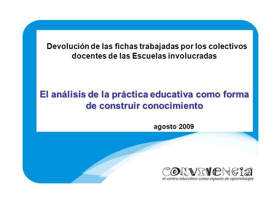 Devolución de las fichas trabajadas por los colectivos docentes de las Escuelas involucradas