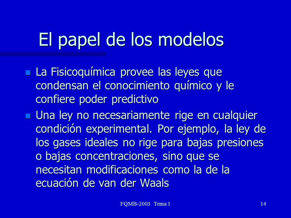 El papel de los modelos La Fisicoquímica provee las leyes que condensan el conocimiento químico y le confiere poder predictivo.