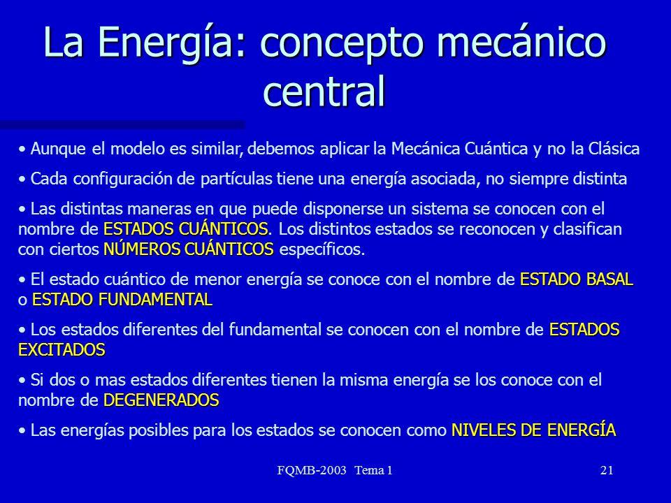 La Energía: concepto mecánico central