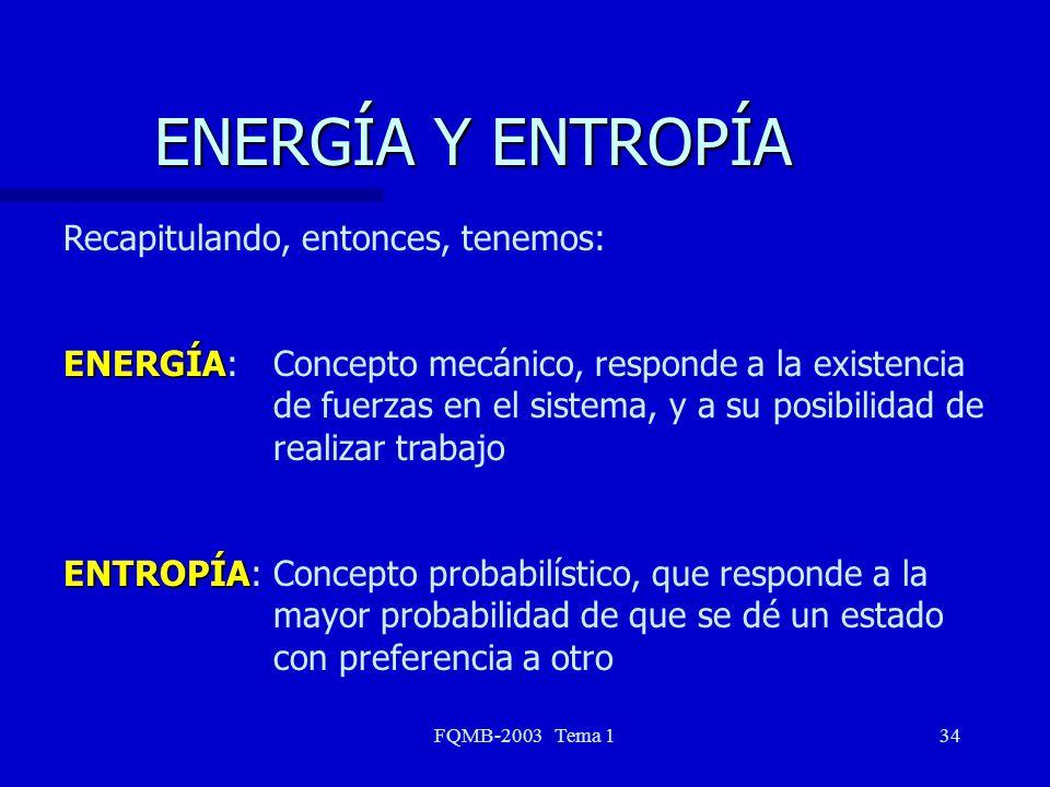 ENERGÍA Y ENTROPÍA Recapitulando, entonces, tenemos: