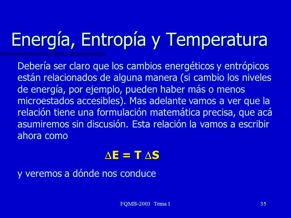Energía, Entropía y Temperatura
