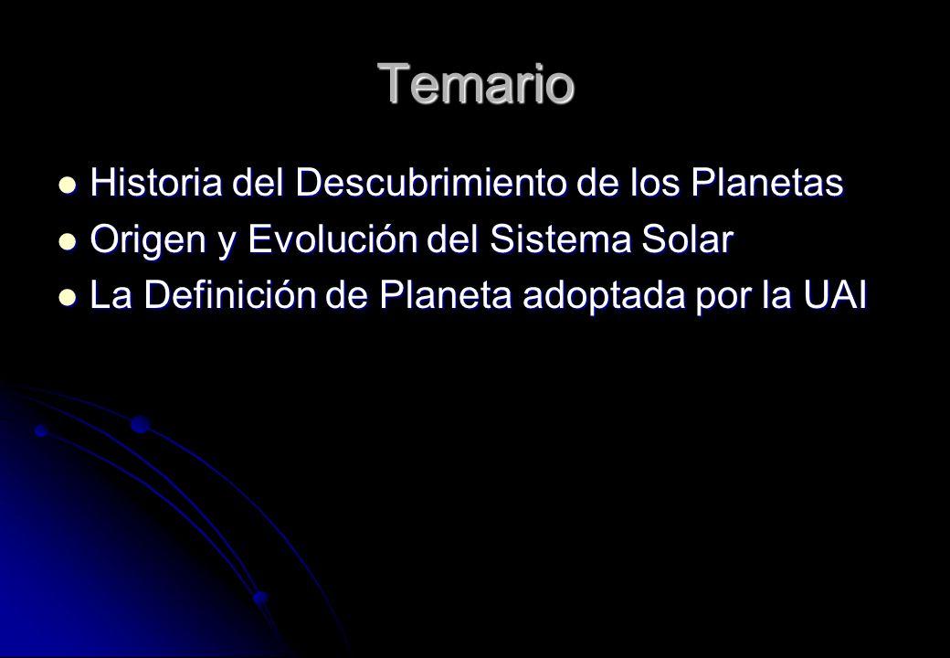 Temario Historia del Descubrimiento de los Planetas