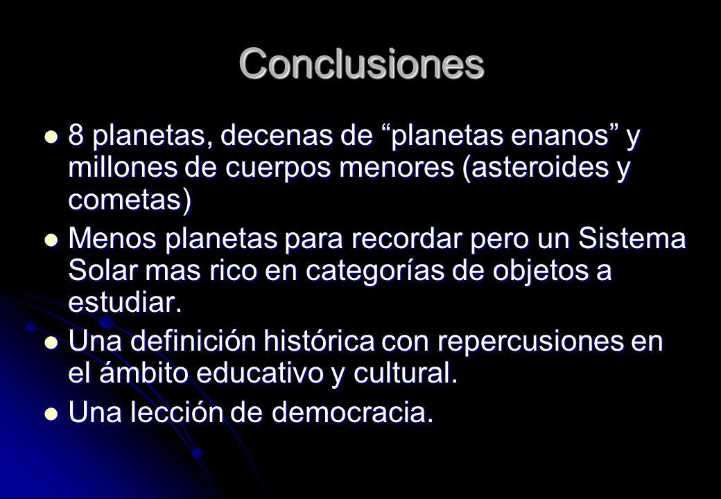 Conclusiones 8 planetas, decenas de planetas enanos y millones de cuerpos menores (asteroides y cometas)