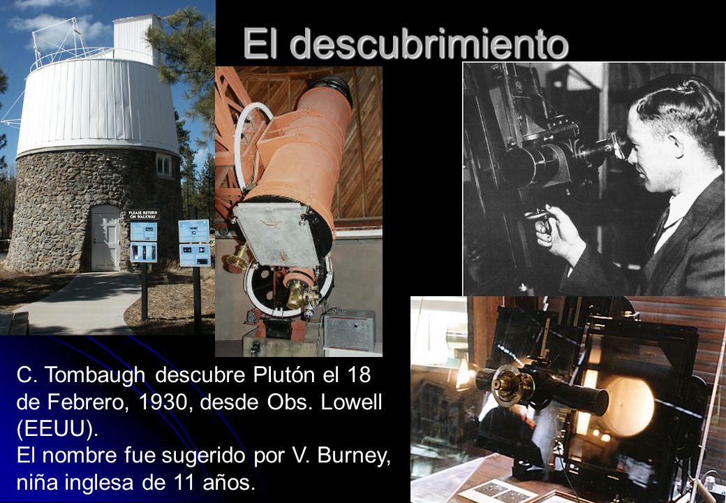 El descubrimiento C. Tombaugh descubre Plutón el 18 de Febrero, 1930, desde Obs. Lowell (EEUU).