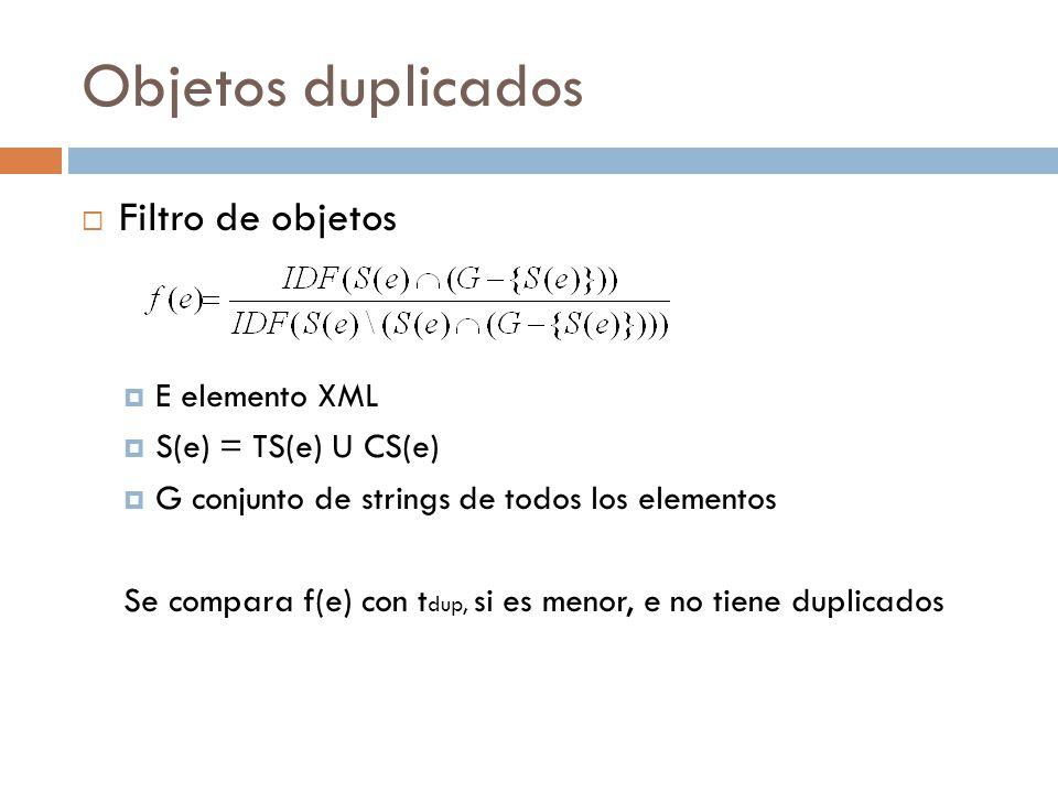Objetos duplicados Filtro de objetos E elemento XML