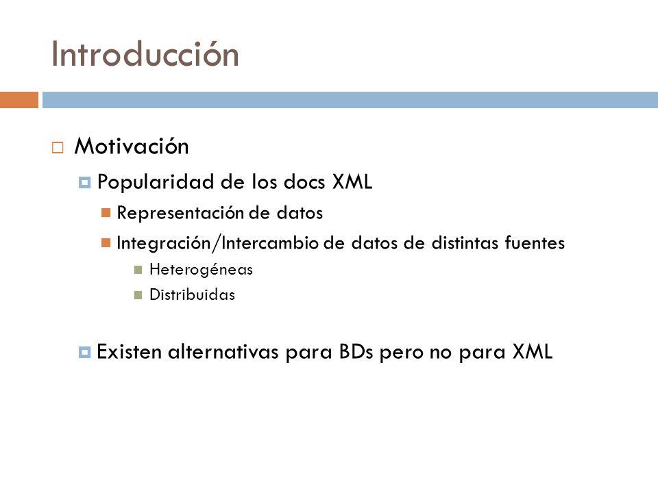 Introducción Motivación Popularidad de los docs XML