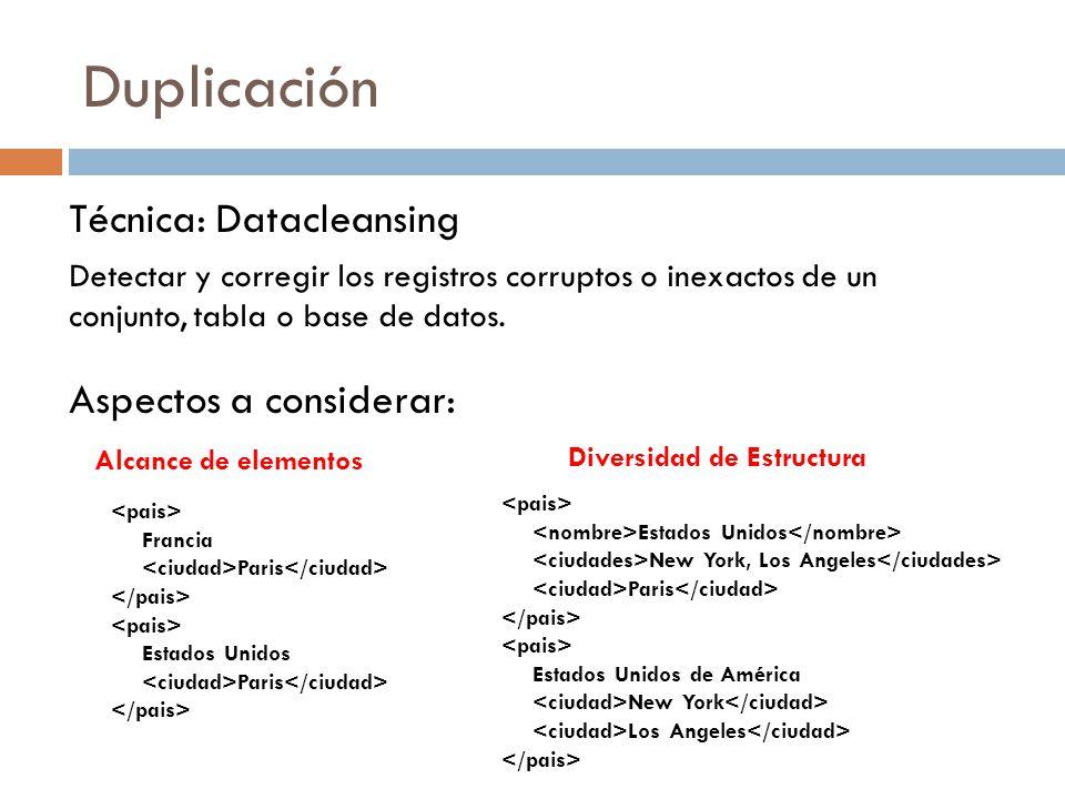 Duplicación Técnica: Datacleansing Aspectos a considerar: