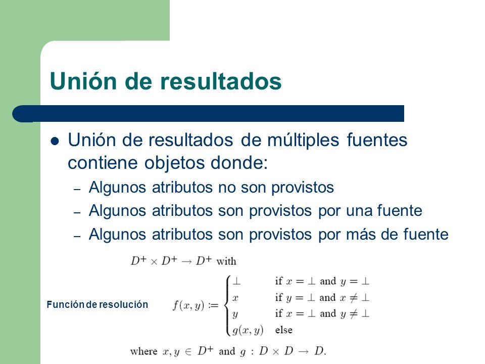 Unión de resultados Unión de resultados de múltiples fuentes contiene objetos donde: Algunos atributos no son provistos.