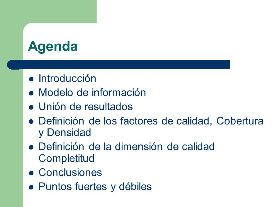 Agenda Introducción Modelo de información Unión de resultados