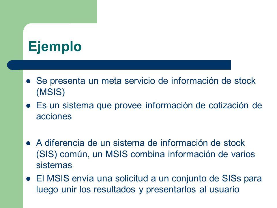 Ejemplo Se presenta un meta servicio de información de stock (MSIS)