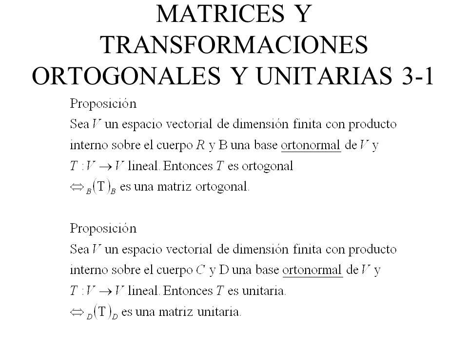 MATRICES Y TRANSFORMACIONES ORTOGONALES Y UNITARIAS 3-1