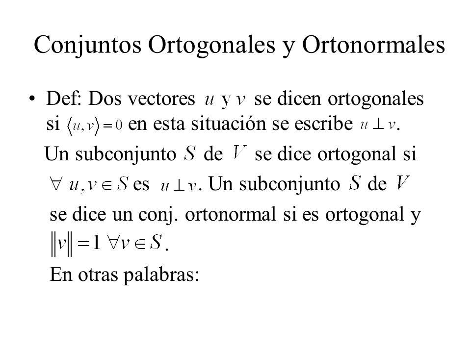 Conjuntos Ortogonales y Ortonormales