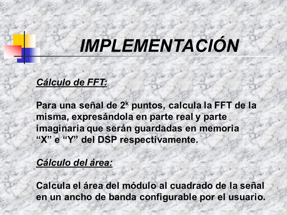 IMPLEMENTACIÓN Cálculo de FFT: