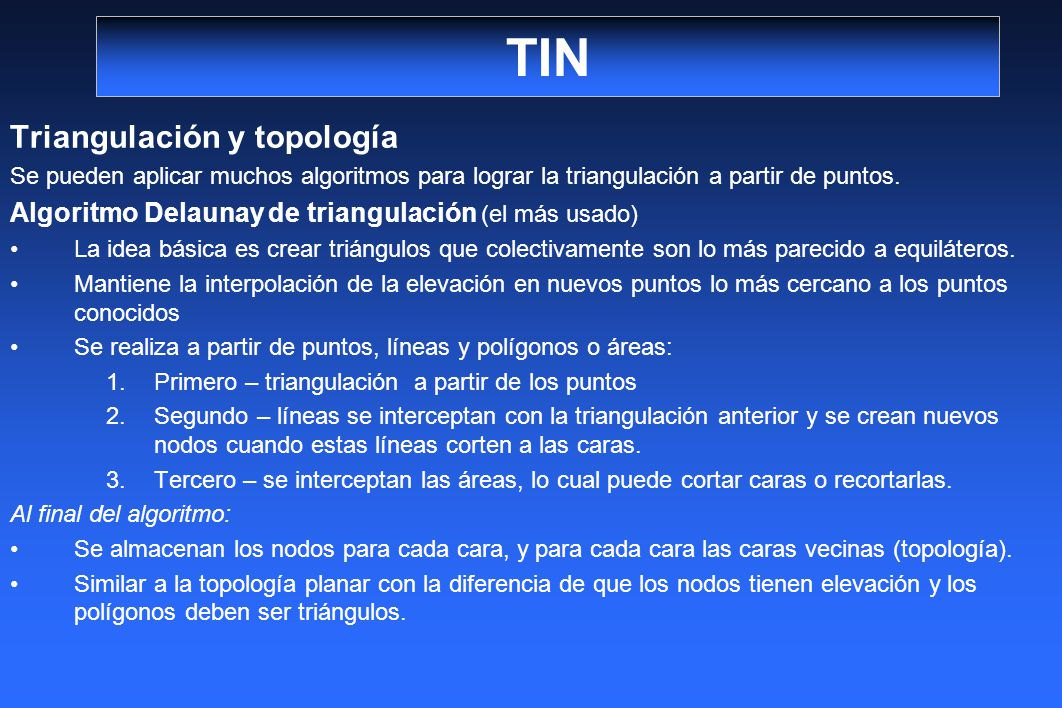 TIN Triangulación y topología