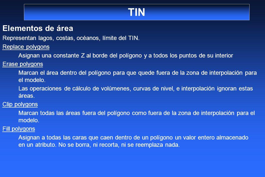 TIN Elementos de área. Representan lagos, costas, océanos, límite del TIN. Replace polygons.