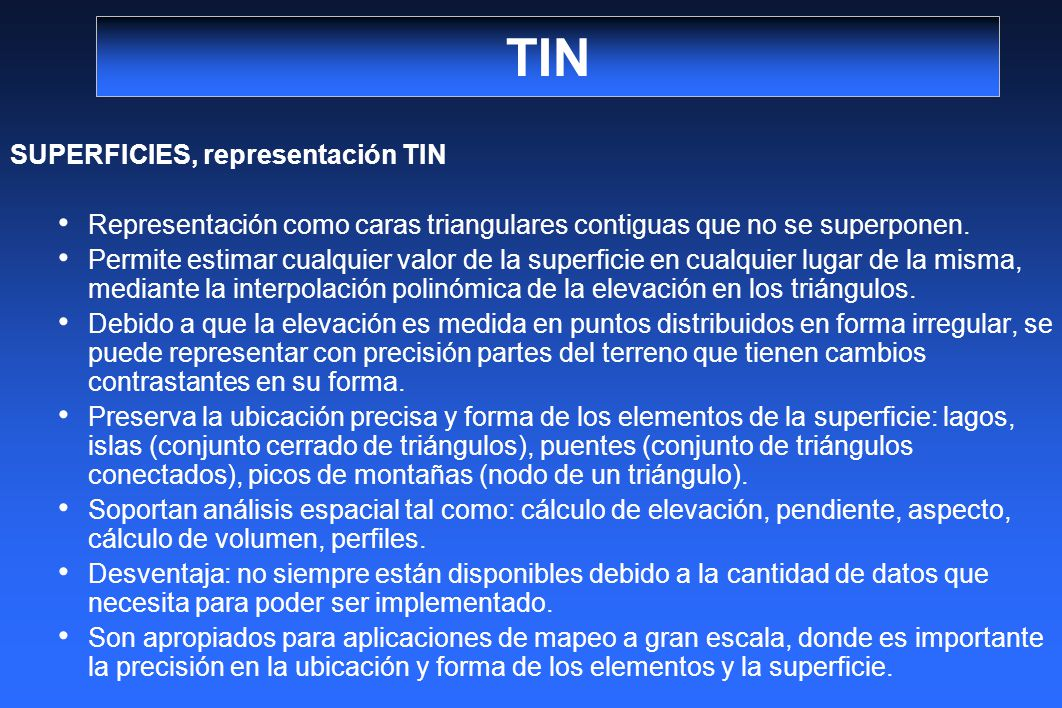 TIN SUPERFICIES, representación TIN