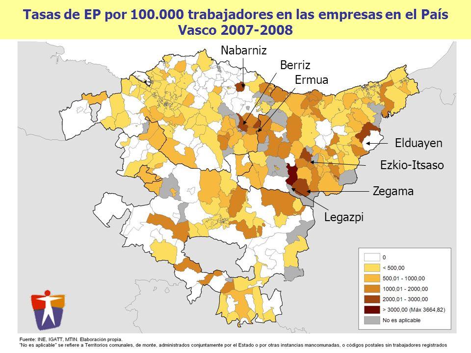 Tasas de EP por 100.000 trabajadores en las empresas en el País Vasco 2007-2008