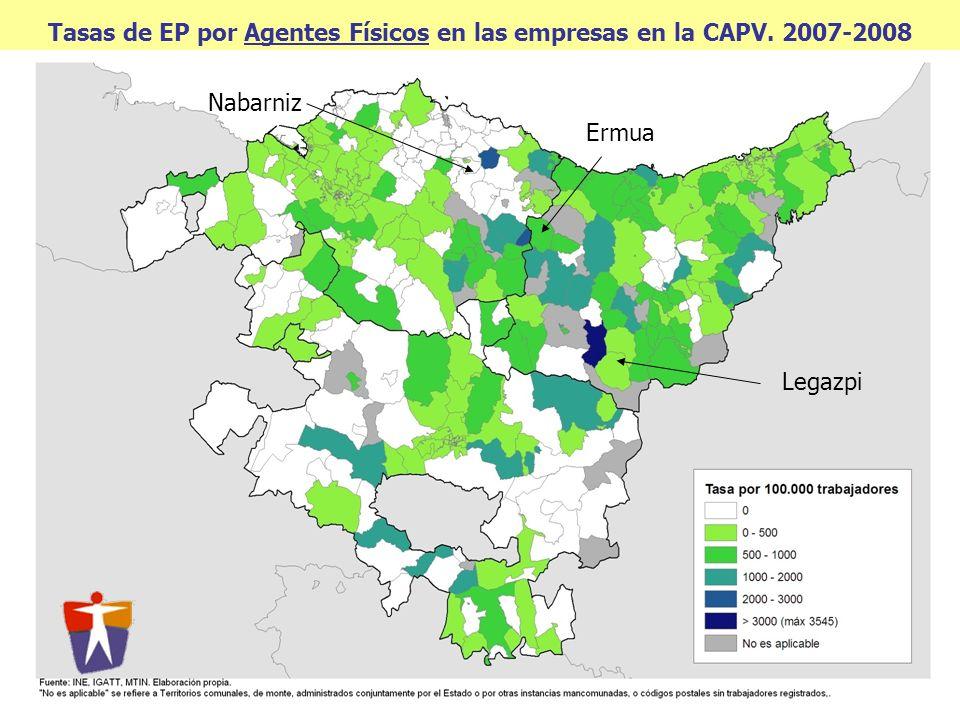 Tasas de EP por Agentes Físicos en las empresas en la CAPV. 2007-2008