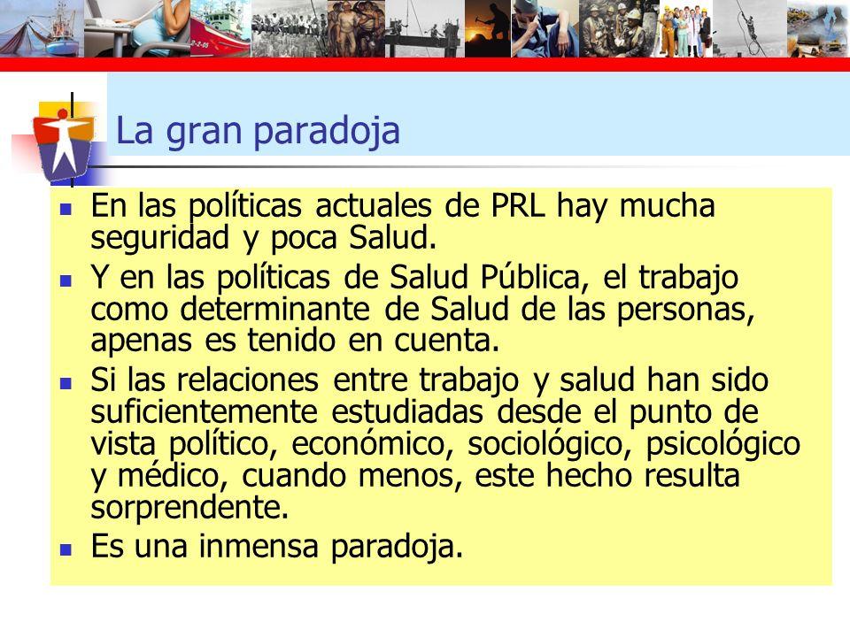 La gran paradoja En las políticas actuales de PRL hay mucha seguridad y poca Salud.