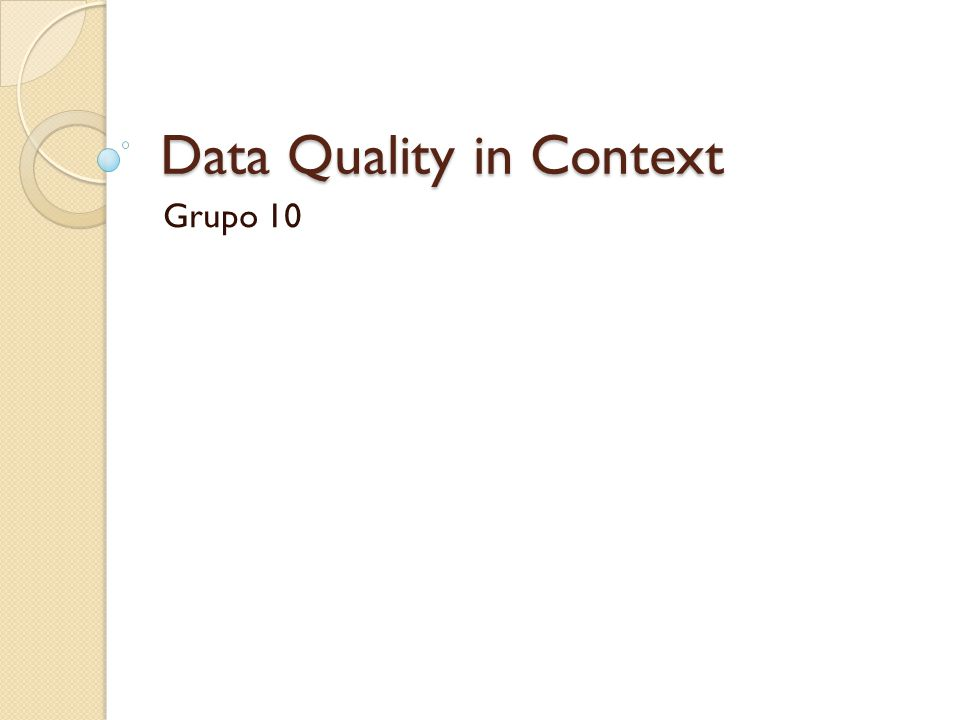 Data Quality in Context
