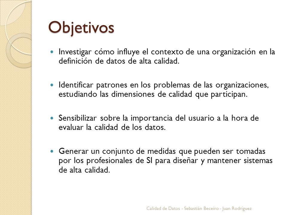 Objetivos Investigar cómo influye el contexto de una organización en la definición de datos de alta calidad.