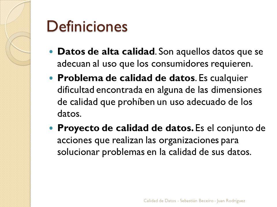 Definiciones Datos de alta calidad. Son aquellos datos que se adecuan al uso que los consumidores requieren.