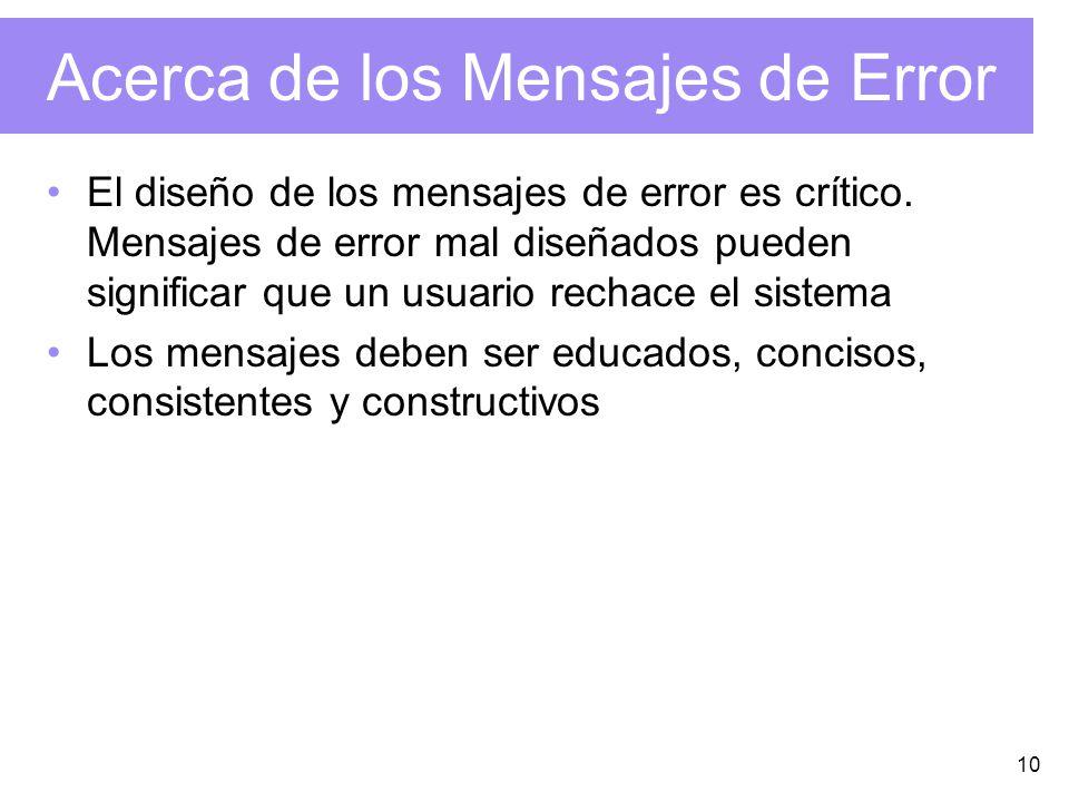 Acerca de los Mensajes de Error