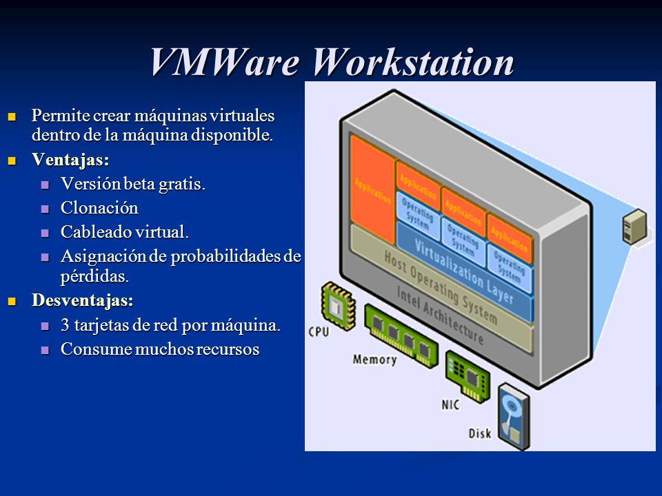 VMWare Workstation Permite crear máquinas virtuales dentro de la máquina disponible. Ventajas: Versión beta gratis.