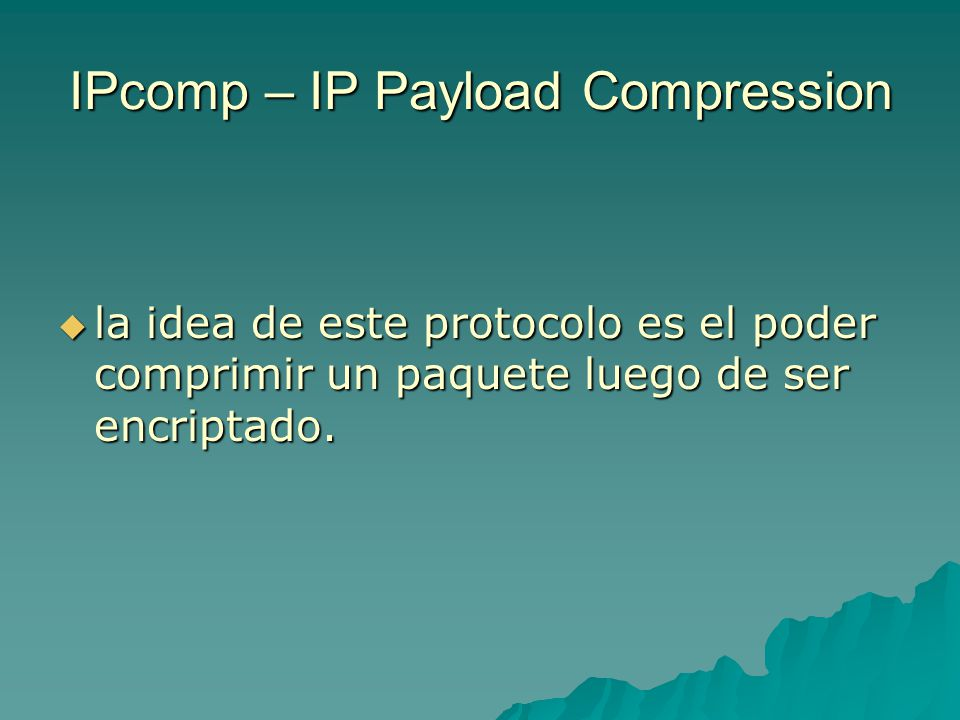 IPcomp – IP Payload Compression