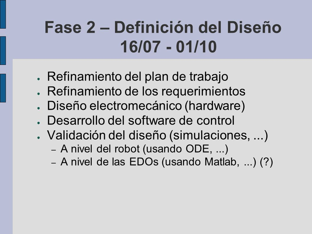 Fase 2 – Definición del Diseño 16/07 - 01/10