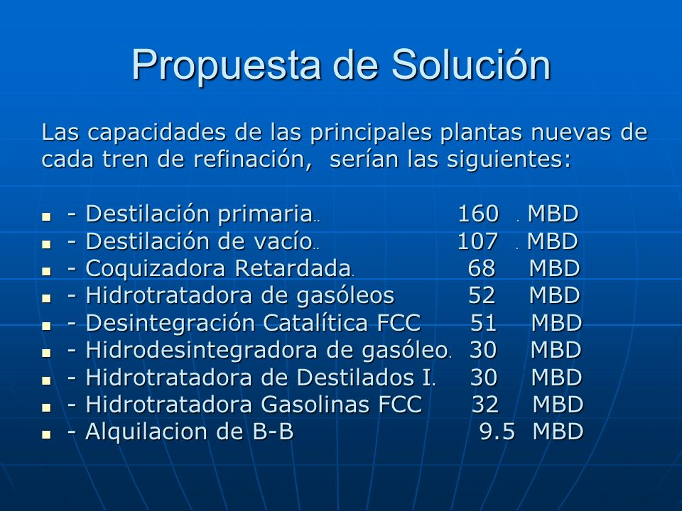 Propuesta de Solución Las capacidades de las principales plantas nuevas de. cada tren de refinación, serían las siguientes: