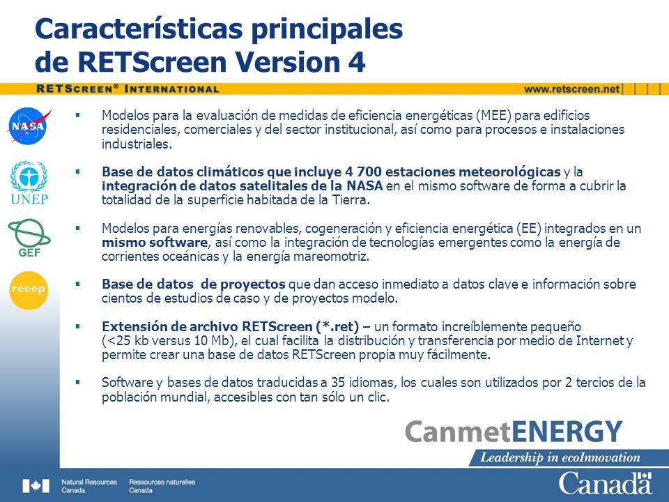 Características principales de RETScreen Version 4