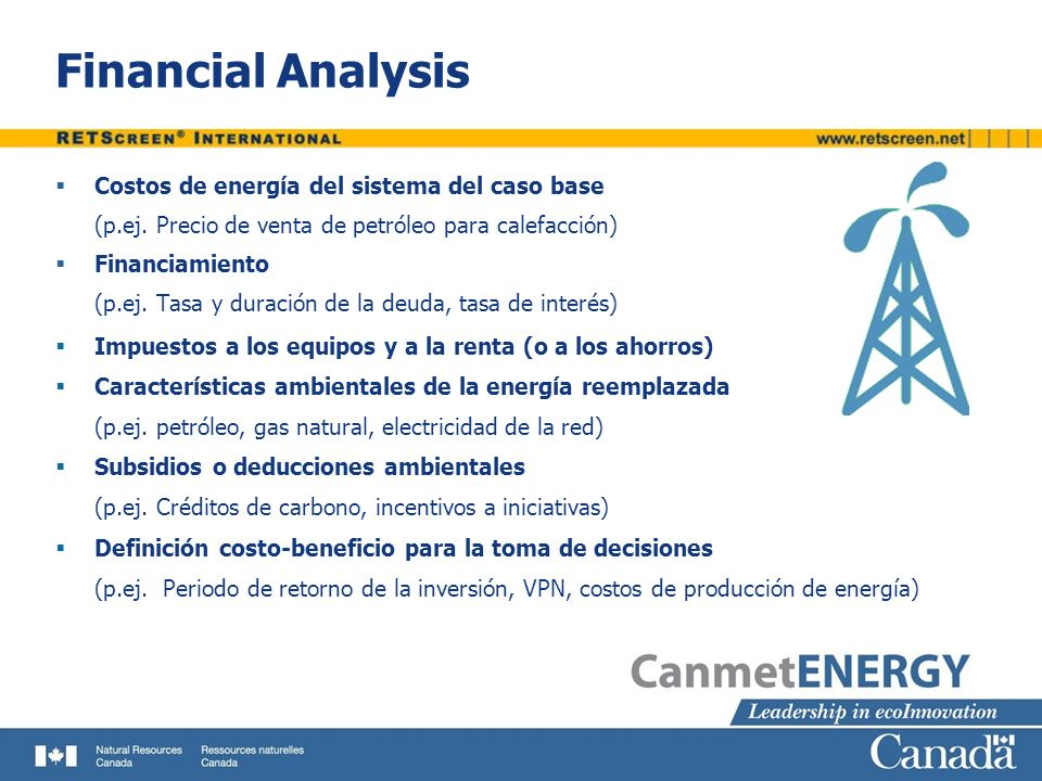 Financial Analysis Costos de energía del sistema del caso base