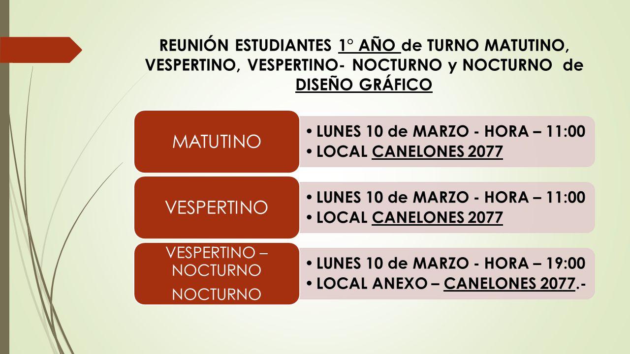 REUNIÓN ESTUDIANTES 1° AÑO de TURNO MATUTINO, VESPERTINO, VESPERTINO- NOCTURNO y NOCTURNO de DISEÑO GRÁFICO
