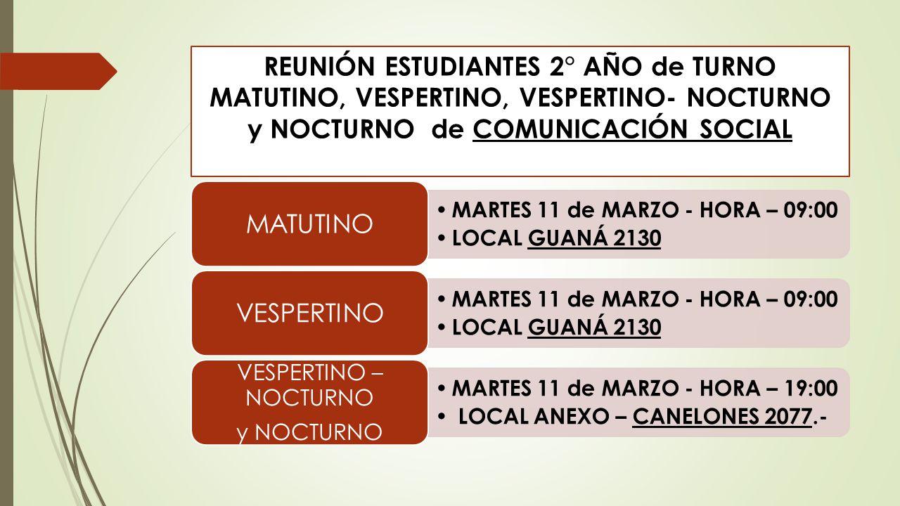REUNIÓN ESTUDIANTES 2° AÑO de TURNO MATUTINO, VESPERTINO, VESPERTINO- NOCTURNO y NOCTURNO de COMUNICACIÓN SOCIAL