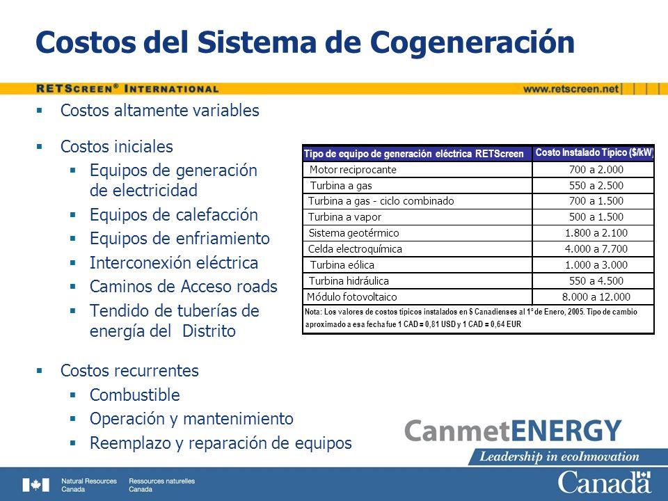 Costos del Sistema de Cogeneración