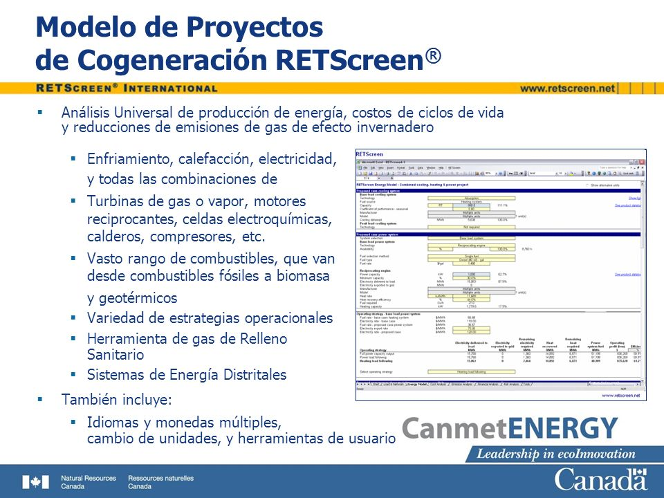 Modelo de Proyectos de Cogeneración RETScreen®