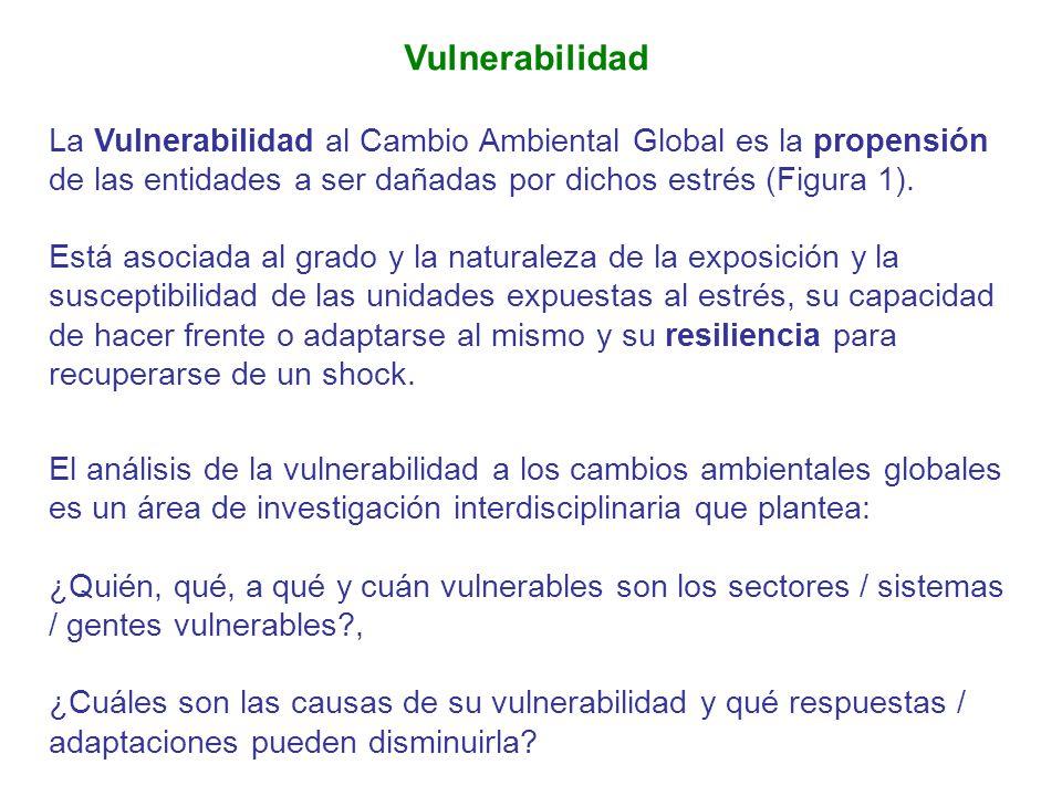 Vulnerabilidad La Vulnerabilidad al Cambio Ambiental Global es la propensión de las entidades a ser dañadas por dichos estrés (Figura 1).