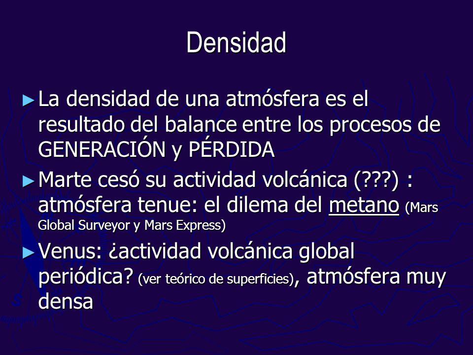 Densidad La densidad de una atmósfera es el resultado del balance entre los procesos de GENERACIÓN y PÉRDIDA.