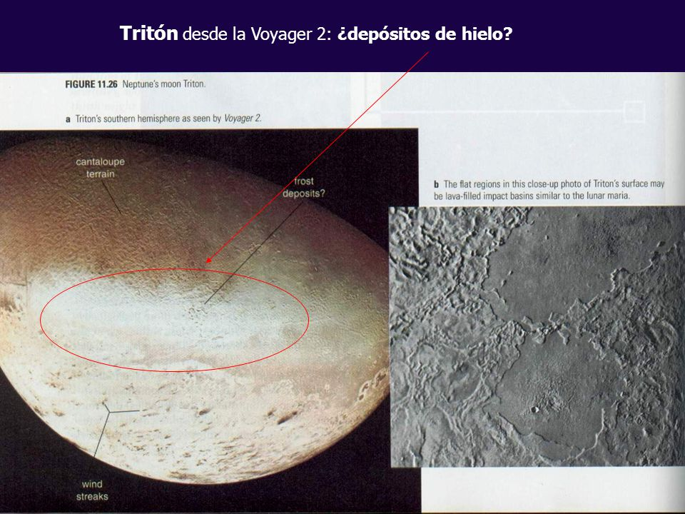 Tritón desde la Voyager 2: ¿depósitos de hielo
