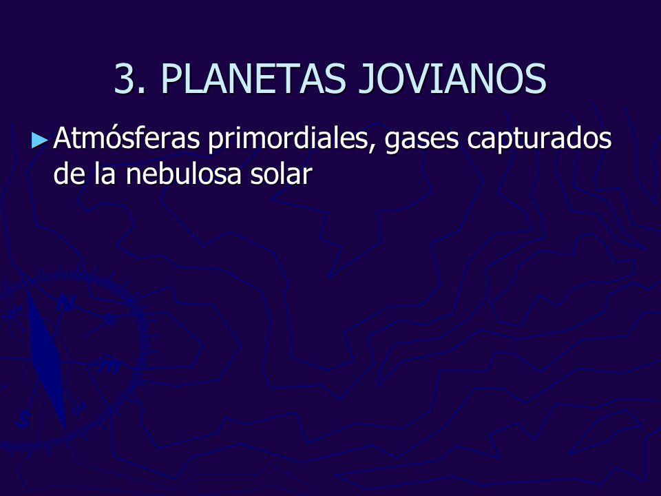 3. PLANETAS JOVIANOS Atmósferas primordiales, gases capturados de la nebulosa solar
