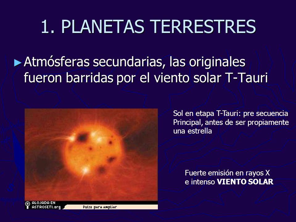 1. PLANETAS TERRESTRES Atmósferas secundarias, las originales fueron barridas por el viento solar T-Tauri.