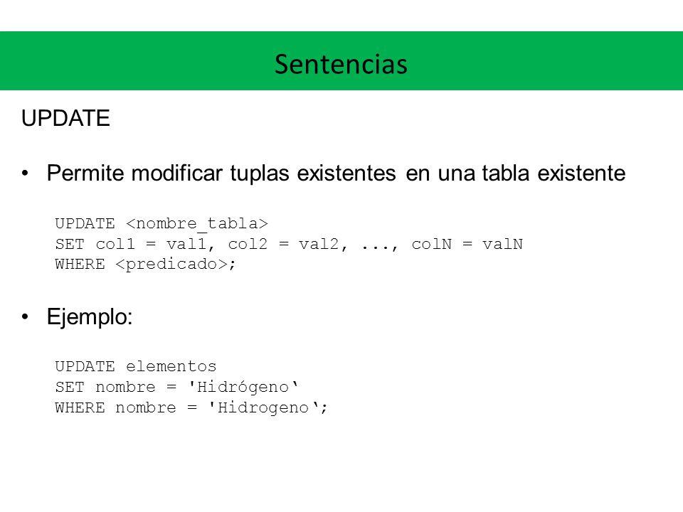 Sentencias UPDATE. Permite modificar tuplas existentes en una tabla existente. UPDATE <nombre_tabla>