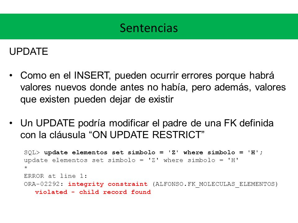 Sentencias UPDATE.